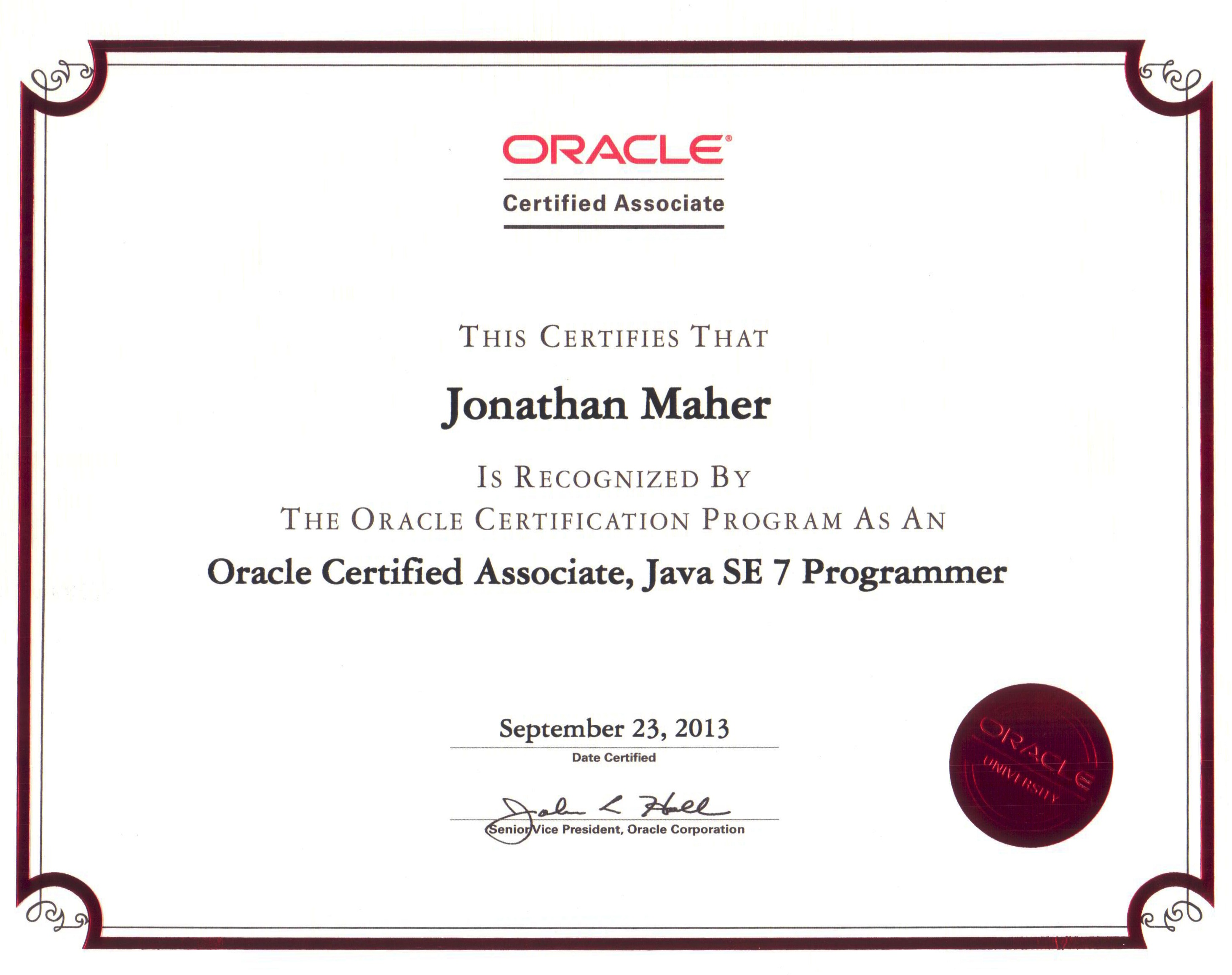 java oracle certification programming certifications bannon maher jonathan certified